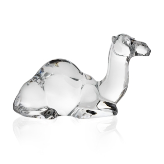 A glass hand cooler figurine of a camel laying down